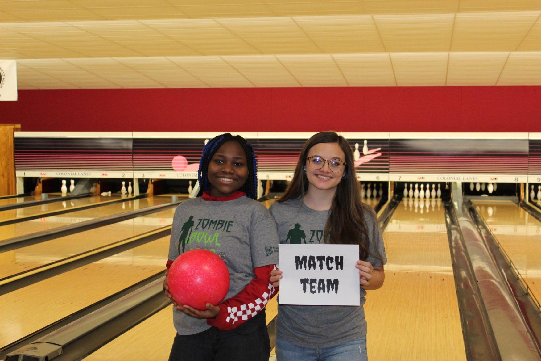 A Big & Little enjoy bowling together at Bowl For Kids' Sake 2020.